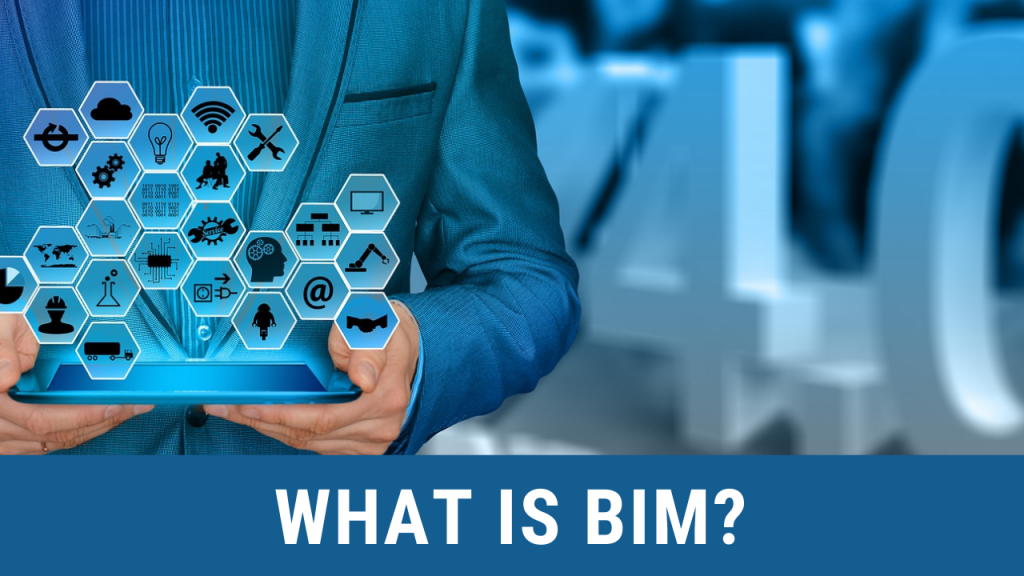 A man holding what seems like a tablet extracting information for analysis. Below it is a wording saying what is BIM?